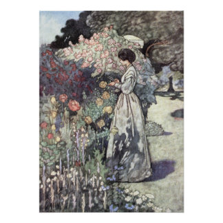 The Old-Fashioned Garden by Charles Robinson Poster