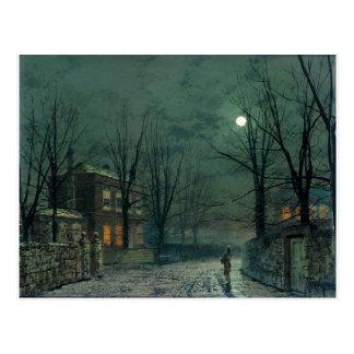 The Old Hall Under Moonlight John Atkinson Grimsha Postcard