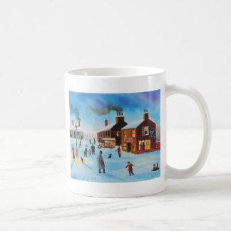 The old hovis van winter street scene nostalgic coffee mug