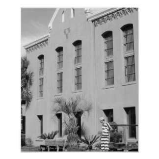 The Old Jail St. Augustine Florida B&W Photo Poster