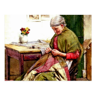 The Old Quilt - Walter Langley Postcard