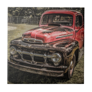 The Old Red Antique Truck Tile