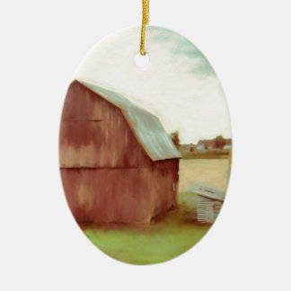 The Old Red Barn Ceramic Ornament