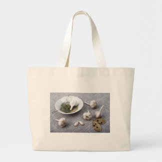 The old saucer, garlic and spices large tote bag