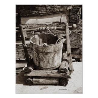 The Old Well Bucket Poster