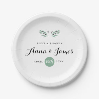 The Olive Spring Wedding Paper Plate 7 Inch Paper Plate