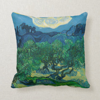 The Olive Trees with Alpilles Vincent van Gogh Throw Pillow