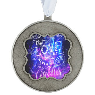 The Ones that Love Us Amethyst Dreams Scalloped Pewter Ornament