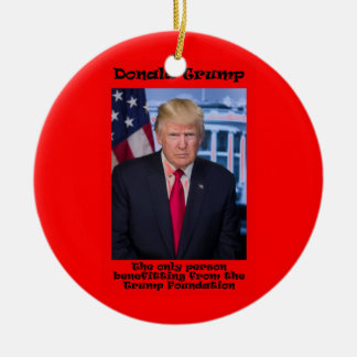 The Only Person Benefitting - Anti Trump Round Ceramic Ornament