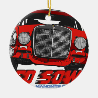 The only Red Sow Round Ceramic Ornament
