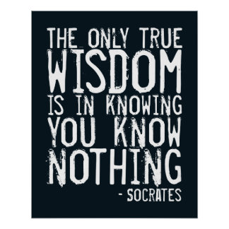 The only true wisdom... Socrates quote poster