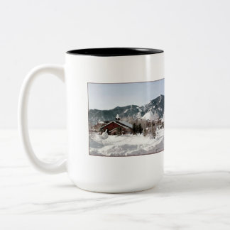 The Opera House with Snow Sculptures Two-Tone Coffee Mug