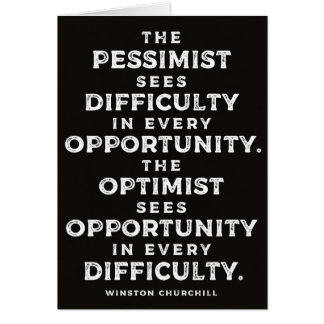 'The Optimist' Powerful Winston Churchill Quote Card