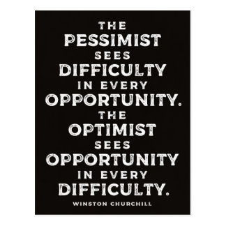 'The Optimist' Powerful Winston Churchill Quote Postcard