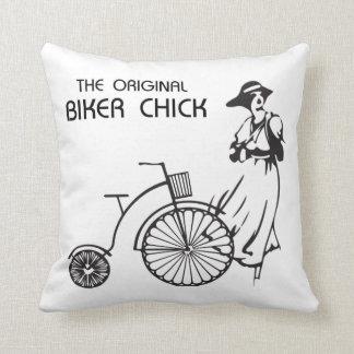 The original biker chick, vintage bike and female throw pillow