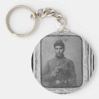 The Original Black American Soldier Basic Round Button Keychain