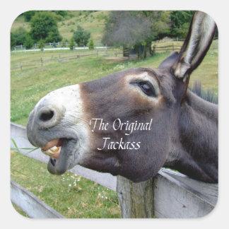 The Original Jackass Funny Donkey Mule Farm Animal Square Sticker
