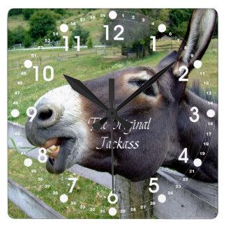 The Original Jackass Funny Donkey Mule Farm Animal Square Wall Clock