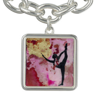 The Original Yoga Girl Charm Bracelet, Silver Pl.