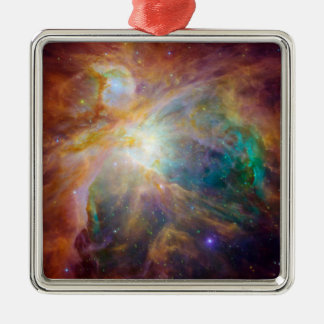 The Orion Nebula 3 Silver-Colored Square Ornament