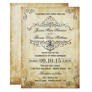 "The Ornate Flourish Vintage Wedding Collection 5"" X 7"" Invitation Card"