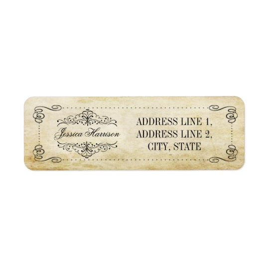 The Ornate Flourish Vintage Wedding Collection Return Address Label