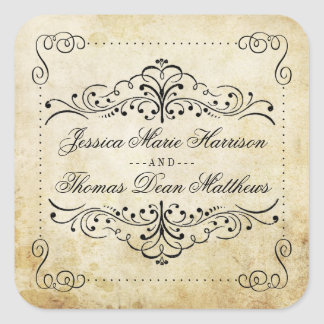 The Ornate Flourish Vintage Wedding Collection Square Sticker