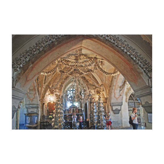The ossuary in Sedlec or the Church of All Saints. Canvas Print