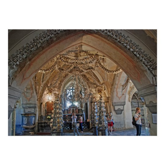 The ossuary in Sedlec or the Church of All Saints. Poster