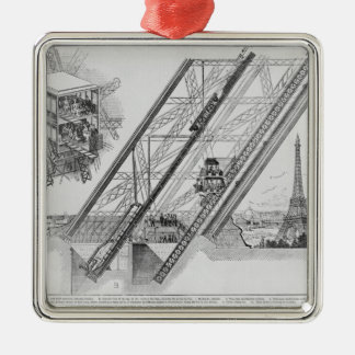 The Otis Elevator in the Eiffel Tower Silver-Colored Square Ornament