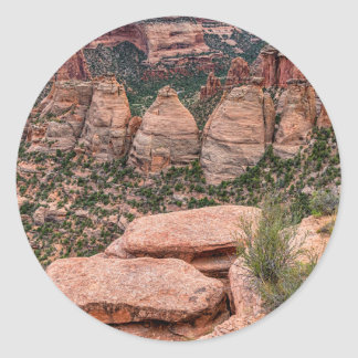The Ovens Rock Formation Western Landscape Round Sticker