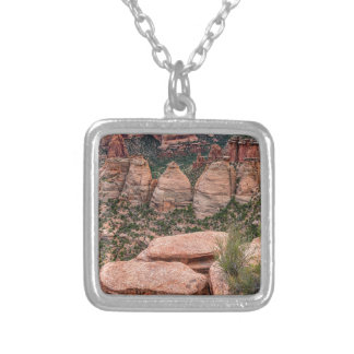 The Ovens Rock Formation Western Landscape Silver Plated Necklace