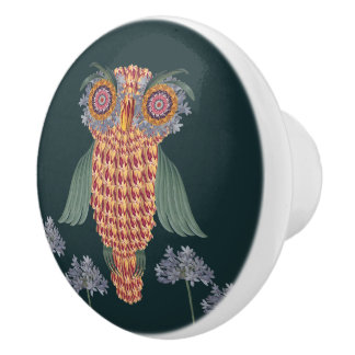 The Owl of wisdom and flowers Ceramic Knob