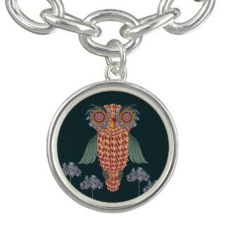 The Owl of wisdom and flowers Charm Bracelets