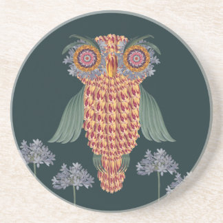 The Owl of wisdom and flowers Coaster