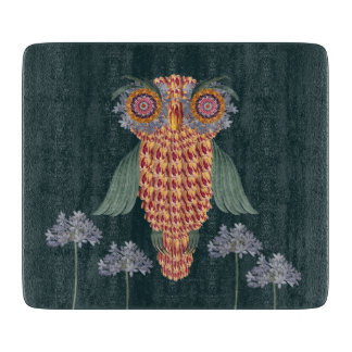 The Owl of wisdom and flowers Cutting Board