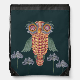 The Owl of wisdom and flowers Drawstring Bag