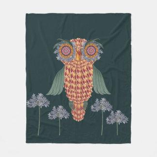The Owl of wisdom and flowers Fleece Blanket