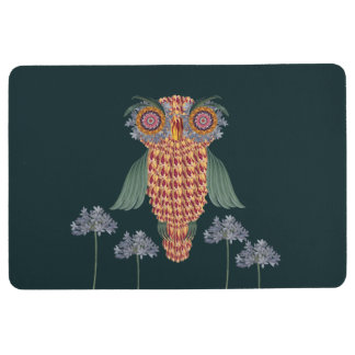 The Owl of wisdom and flowers Floor Mat