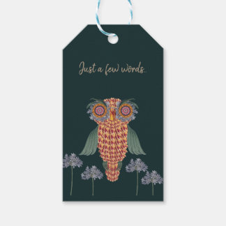 The Owl of wisdom and flowers Gift Tags