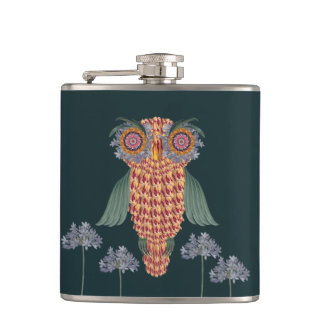 The Owl of wisdom and flowers Hip Flask