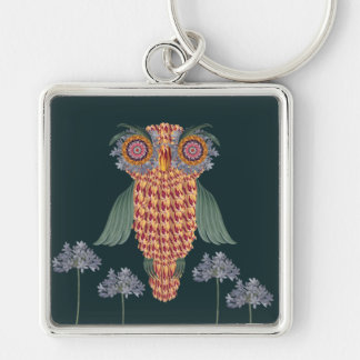 The Owl of wisdom and flowers Keychain