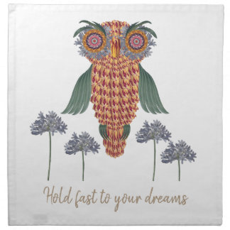 The Owl of wisdom and flowers Napkin