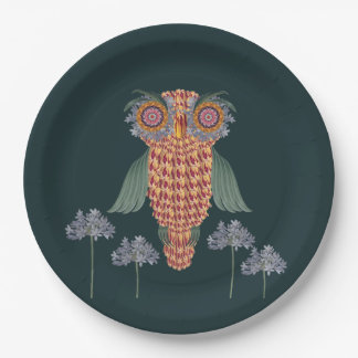 The Owl of wisdom and flowers Paper Plate