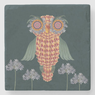 The Owl of wisdom and flowers Stone Coaster