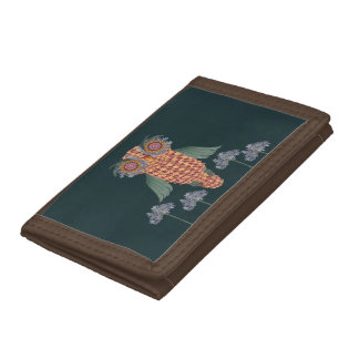 The Owl of wisdom and flowers Trifold Wallet