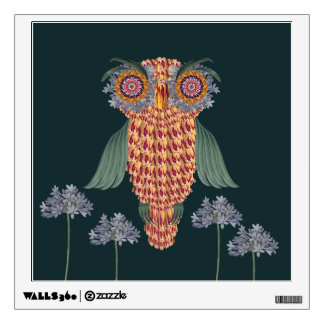 The Owl of wisdom and flowers Wall Decal