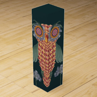 The Owl of wisdom and flowers Wine Gift Box