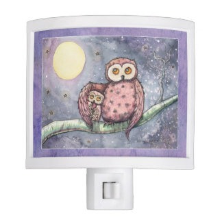 The Owls and the Moon Fantasy Art Nite Lite