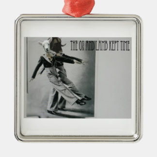 The Ox and Lamb Kept Time Silver-Colored Square Ornament